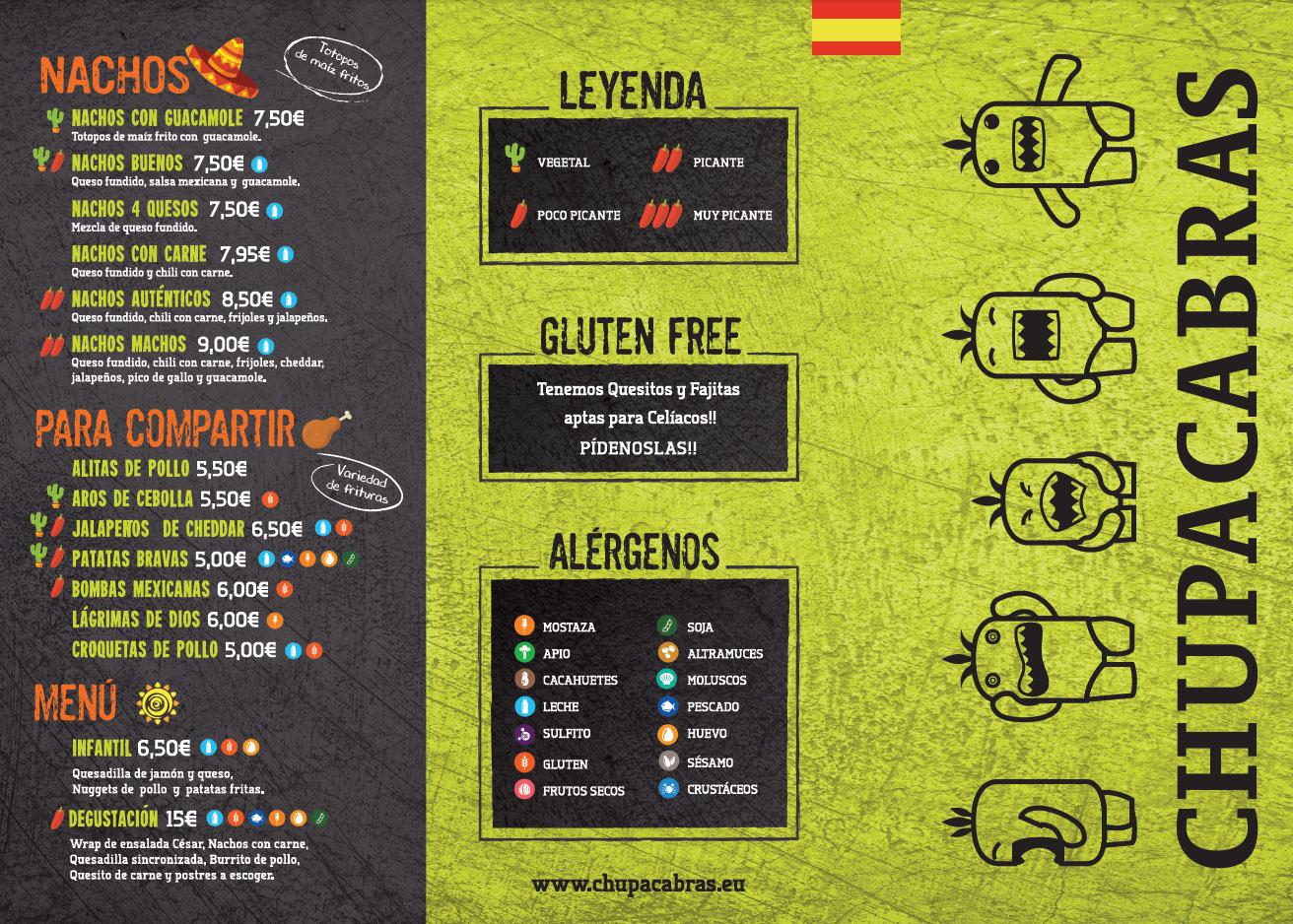 carta del chupacabras restaurante y comida mexicana